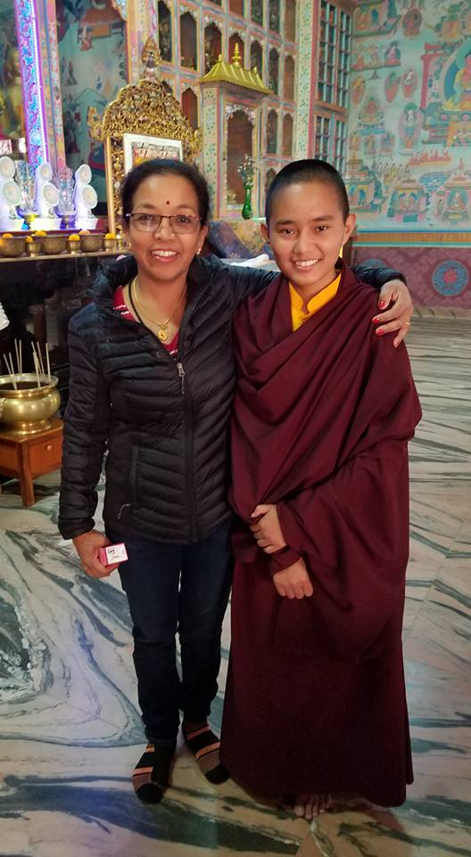 Resham with monk in Nepal