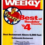 Best Boulder Restaurant Above 8000 feet 2004