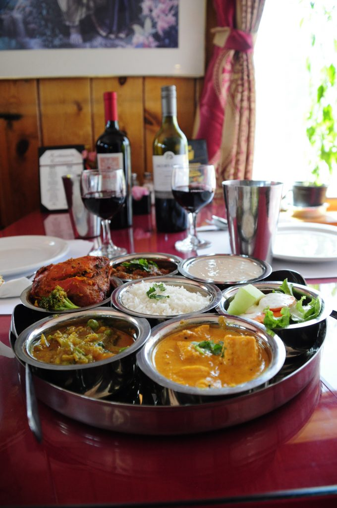 Featured Dish Nepali Meat Thali with wine